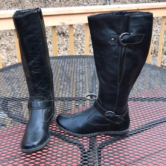 8b593c5d43b Born Textured Black flat heel Calf hi 6.5M Boots NWT